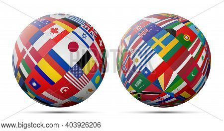 Flags Globe Set. Global World Flags. Vector Illustration.