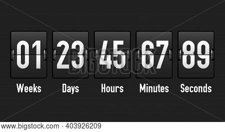 Analog Counter, Mechanical Airport Display Countdown Showing Weeks, Days, Hours, Minutes And Seconds