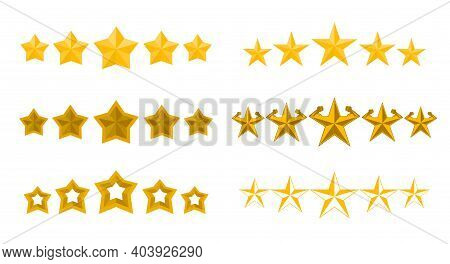 Five Stars Collection, Vector Illustration. 5 Gold Stars Rating Set Isolated On White Background.