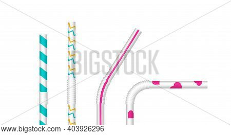 Drinking Straws Straight And Bent Close Up Set Vector Isolated On White.