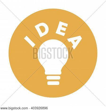 Solution, Idea Icon Symbol. Light Bulb Yellow Circle In Cartoon Style. Light Bulb Line Icon Vector.