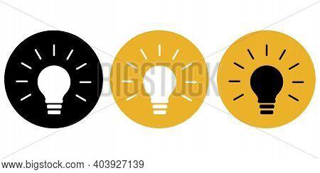 Classic Set Light Bulbs Circles. Light Bulb Icon Vector. Geometric Art. Vector Abstract Illustration