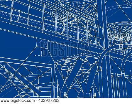 Industrial Refinery Equipments Rendering Of 3d Vector Illustration Blue Print
