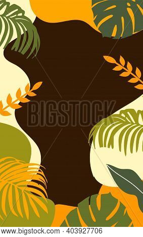 Abstract Vector Background With Tropical Leaves Vector Illustration