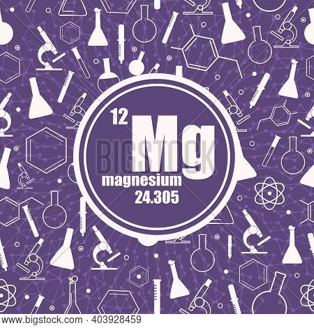 Magnesium Chemical Element. Sign With Atomic Number And Atomic Weight. Chemical Element Of Periodic