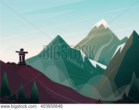 Pacific Northwest Inukshuk Mountains View Vector Picture