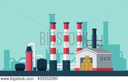 Flat Vector Illustration Of A Processing Plant Complex. Suitable For Design Element From Chemical Co