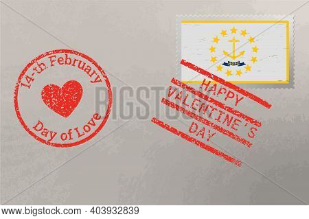 Postage Stamp Envelope With Rhode Island Usa Flag And Valentine S Day Stamps, Vector