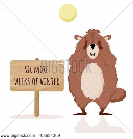 Happy Groundhog Day. Design With Cute Groundhog Character Who Closes His Eyes.