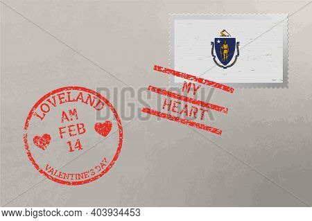 Postage Stamp Envelope With Massachusetts Usa Flag And Valentine S Day Stamps, Vector