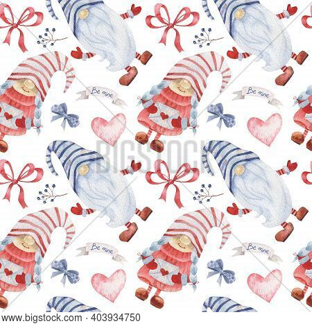 Watercolor Seamless Pattern With Gnomes And Decorations For Valentines Day. Scandinavian Gnomes Patt