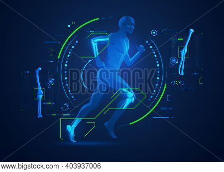 Concept Of Orthopedic Technology Or Bones And Joints Medical Treatment, Graphic Of Running Man With