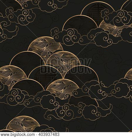 Seamless Vector Pattern With Gold Waves And Clouds Isolated On Black Background. Japanese Traditiona