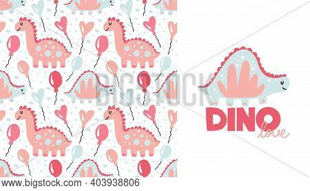 Dinosaur Seamless Pattern And Print. Cute Pink And Blue Doodle Dino. Hand Drawn Simple Animals For G