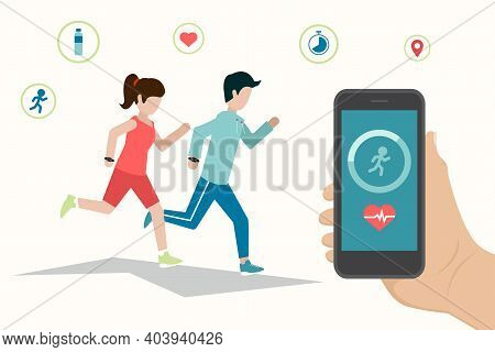 Smartphone App And Fitness Tracker Technology Concept. Active People Characters Running With Heart R