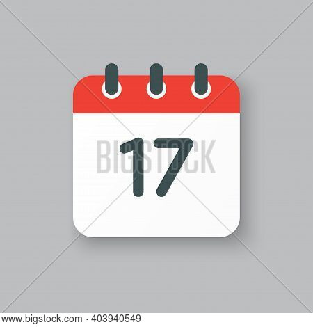Vector Icon Calendar Day Number 17, 17th Day Month