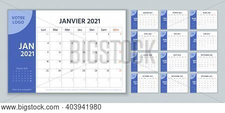 2021 French Planner. Calendar Template. Vector. Week Starts Monday. Calender Layout With 12 Month. Y
