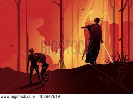 An Illustration Of Adam And Eve Expelled From The Garden. Biblical Series