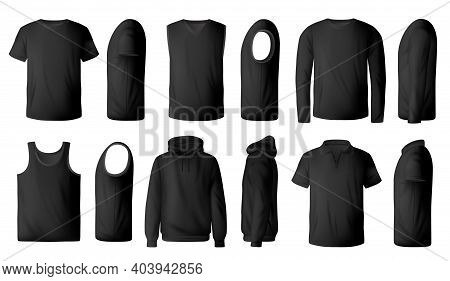 Mens Black T-shirt, Pullover And Hoodie Realistic Mockup. Polo Collar And Crew Neck T-shirts, Single