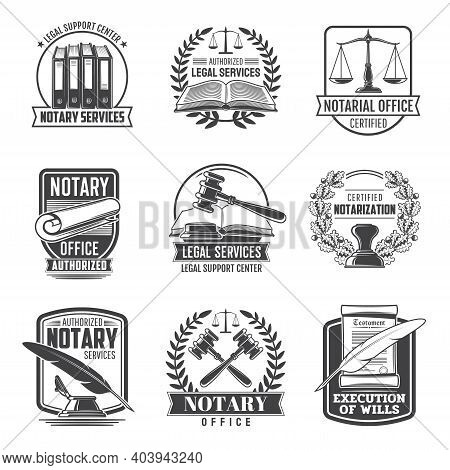 Notary Service Notarial Office Vector Icons. Civil Legal Juridical Rights, Inheritance Registration