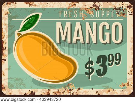 Mango Rusty Metal Plate, Vector Fresh Tropical Fruit Supply Vintage Rust Tin Sign, Ferruginous Price