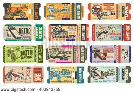 Speedway Motorsport Racing Vintage Tickets Isolated Vector Templates. Retro Cars And Bike Race Event