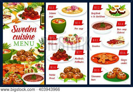 Sweden Meals Vector Menu Salmon And Pea Soup, Pittipanka And Meatballs Kottbulars, Potato Hassel. Be
