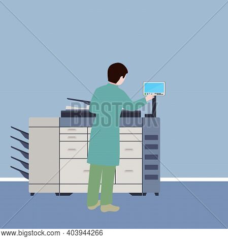 Man Using A Multifunction Machine, Conceptual Vector
