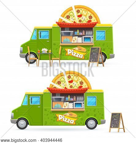 Pizza Food Truck Isolated Vector Car, Cartoon Green Van For Street Junk Food Selling. Cafe Or Restau