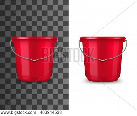 Red Plastic Bucket Realistic Mockup. Household Or Garden Bucket With Glossy Surface And Metal Wire B