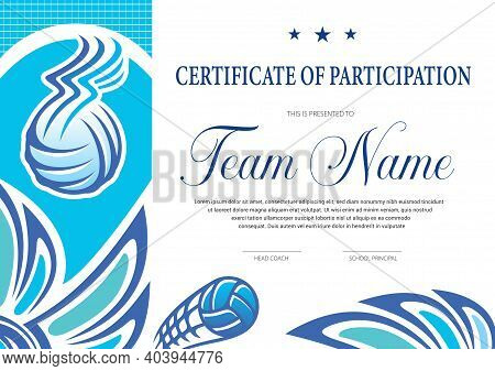 Certificate For Volleyball Tournament Participation. Sports Club Diploma Vector Template. Sport Awar