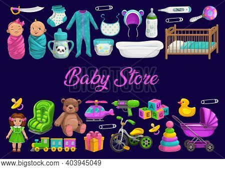 Baby Store Or Toys Shop, Newborn Kids Gifts And Care, Vector Poster. Boys And Girls Kids Toys Store