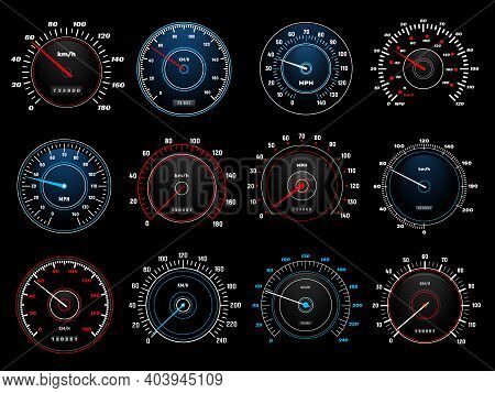 Speedometers, Speed Indicator Vector Dashboard Dial Scales For Auto. Vehicle Board Realistic Interfa