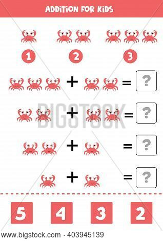 Addition Worksheet With Cartoon Red Crab. Math Game.