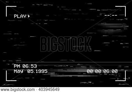 Camera Film Screen With Glitch Effect, Vector Vhs Or Video Home System Black Background With Random