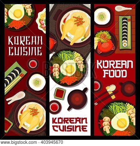Korean Cuisine Vector Rice Mushrooms, Ginseng Chicken Soup Samguetang. Shaved Ice Dessert With Fruit