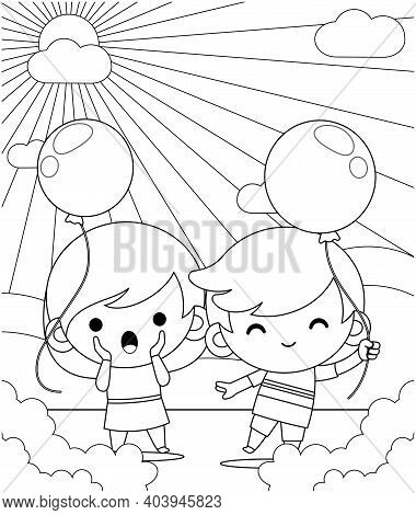 Illustration Vector Graphic Of Coloring Book For Kids. Happy Cute Little Kids Playing Balloon In The