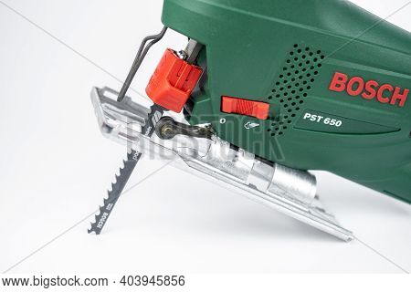 Modern Electric Jig Saw Tool For Diy Home Woodworking. Close Up. Isolated On White Background