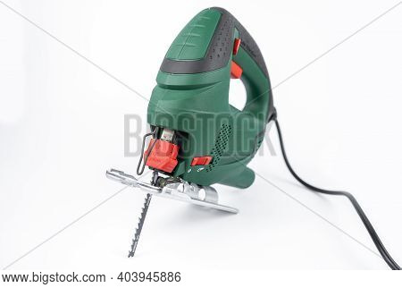 Modern Electric Jig Saw Tool For Diy Home Woodworking. Isolated On White Background