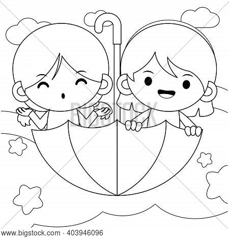Illustration Vector Graphic Of Coloring Book For Kids. Twins Cute Little Girls Riding Flying Umbrell