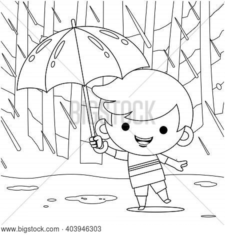 Illustration Vector Graphic Of Coloring Book For Kids. Cute Little Boy Hiding Under Umbrella During