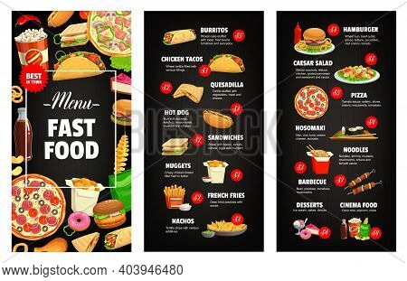 Fast Food Restaurant Or Cafe Menu Page Cover Template. Burritos, Tacos And Quesadilla, Hot Dog, Hamb