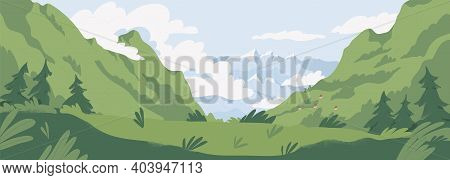 Scenic Summer Landscape With Mountains Covered With Green Grass And Trees. Panoramic View Of Distant