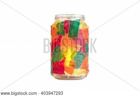 Jar Decorated With Colorful Paper, Tealight, Isolated, Candle Burning Inside