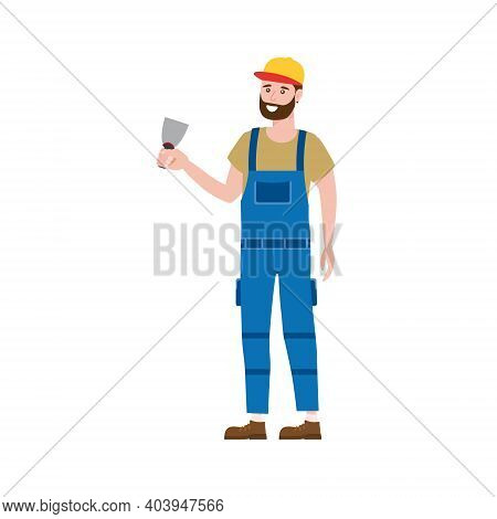 Construction Worker With Plastering Trowel Tool In Workwear. Craftsman Character Vector Isolated