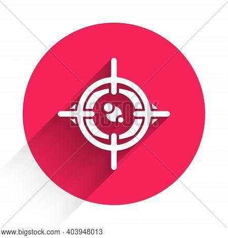 White Eye Scan Icon Isolated With Long Shadow. Scanning Eye. Security Check Symbol. Cyber Eye Sign.