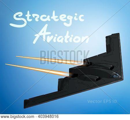 A Stealth Bomber Aircraft In Flight Sketch Vector Illustration
