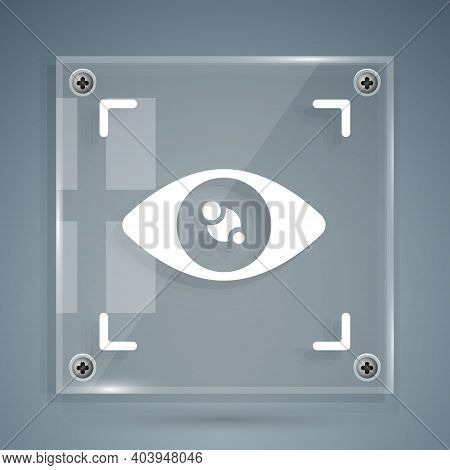 White Eye Scan Icon Isolated On Grey Background. Scanning Eye. Security Check Symbol. Cyber Eye Sign