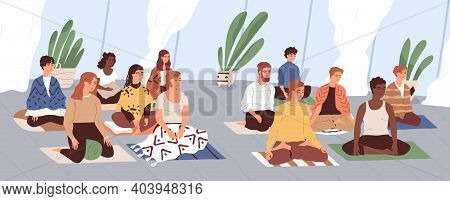 Group Of Young Men And Women Sitting Separately On Floor, Meditating And Performing Breathing Exerci