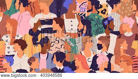 Seamless Pattern Of Diverse Modern People. Human Crowd With Different Multiracial Men And Women. End